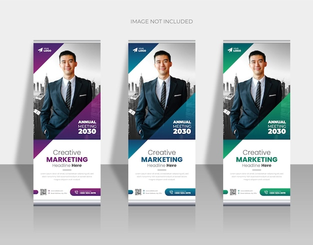 Corporate business rollup or pullup banner design template