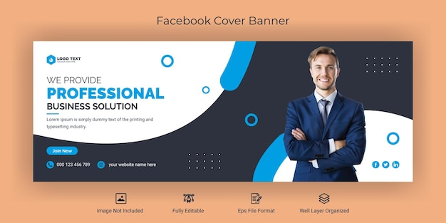 Corporate business social media facebook cover banner template