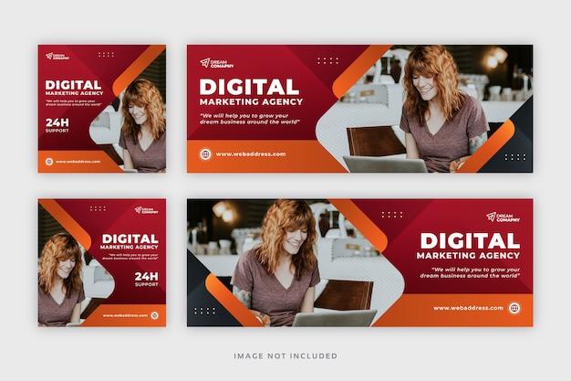 Корпоративный бизнес в социальных сетях публикует веб-баннер с шаблоном обложки facebook