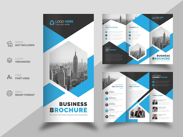 企業のビジネスの三つ折りパンフレットとチラシのデザインテンプレート Premiumベクター