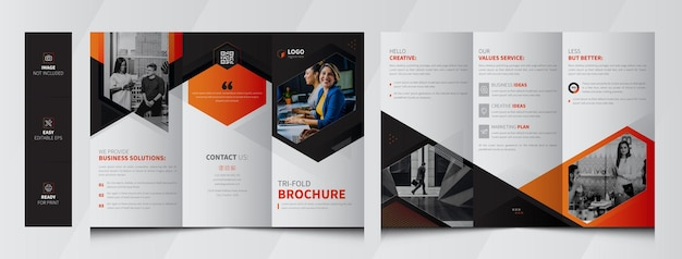 Corporate business trifold brochure premium vector