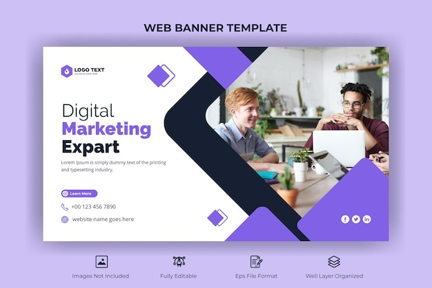 Корпоративный бизнес веб-баннер и шаблон эскиза youtube
