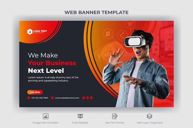 Corporate business web banner and youtube thumbnail template
