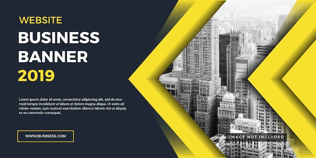 Corporate business website banner yellow background