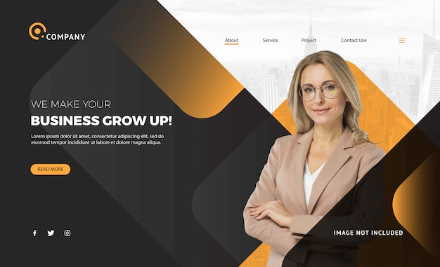 Corporate business women landing page template