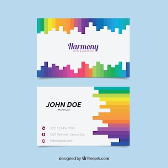 Corporate card with colored shapes