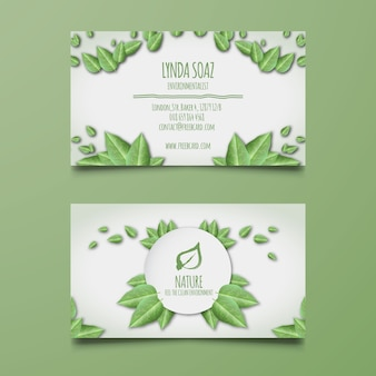 Corporate card with green leaves