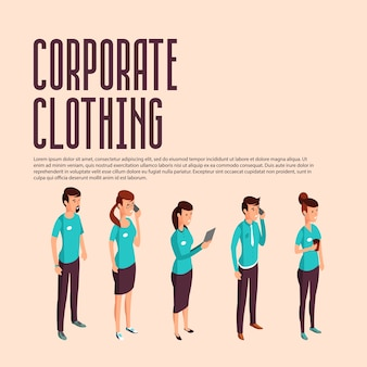 Corporate clothes isometric illustration