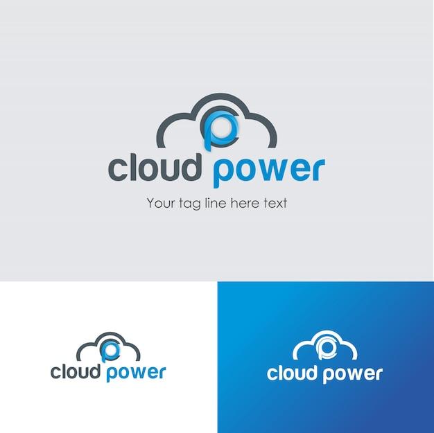 企業向けクラウドパワーデータセンターのロゴデザインテンプレート