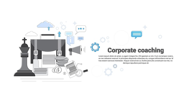 Corporate coaching management business web banner vector illustration