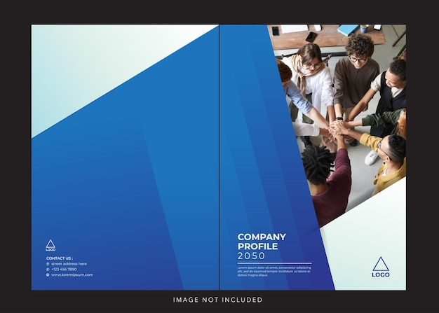 Корпоративный профиль компании синяя обложка