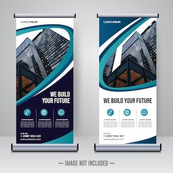 企業建設ロールアップまたはxバナーデザインテンプレート