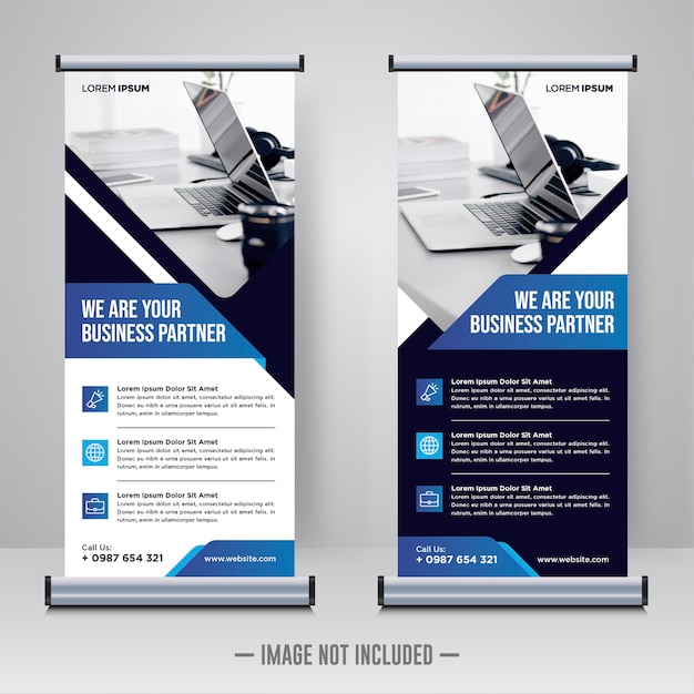 Corporate construction rollup or x banner design template