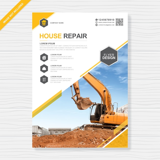 Corporate construction tools cover a4 and flat icons flyer design template