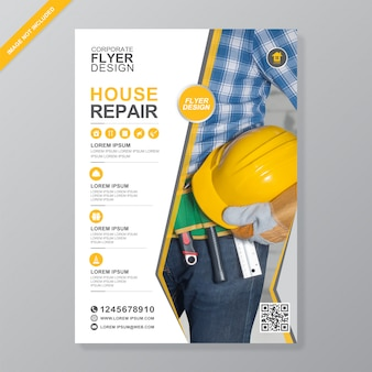 Corporate construction tools cover a4 flyer design template