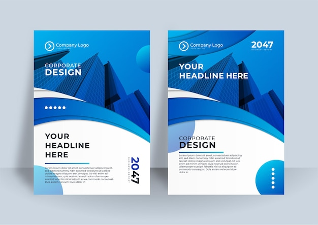 Corporate cover design or brochure template background for business design. modern business flier layout template in a4 size. modern cover design annual report with blue wave element