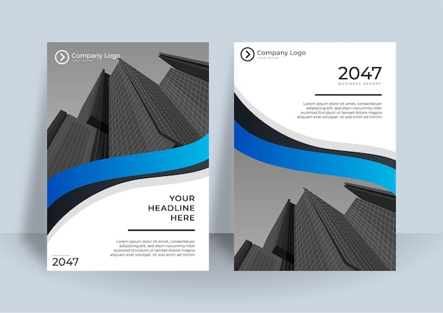 Корпоративный дизайн обложки или фон шаблона брошюры для делового дизайна. современный бизнес-шаблон макета флаера в формате a4. годовой отчет с современным дизайном обложки с элементом синей волны