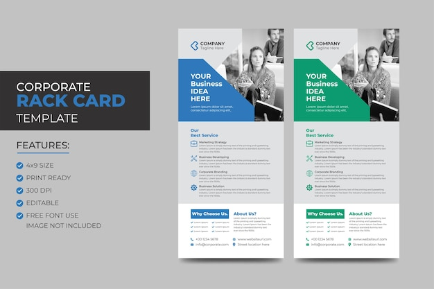 Корпоративная креативная визитная карточка или шаблон флаера dl. dl корпоративный бизнес-шаблон для флаера. макет с современными элементами и абстрактным фоном. креативная концепция флаера.