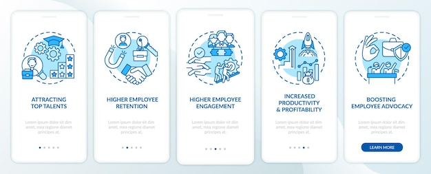 Corporate culture benefits onboarding mobile app page screen with concepts