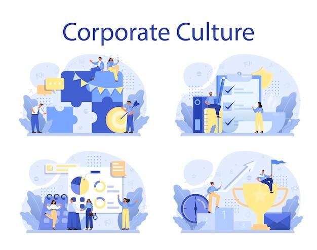 Набор концепции корпоративной культуры. корпоративные отношения. деловая этика. соблюдение корпоративных правил. политика компании и бизнес-курс.