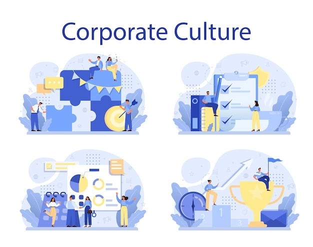 Corporate culture concept set. corporate relations. business ethics. corporate regulations compliance. company policy and business course.