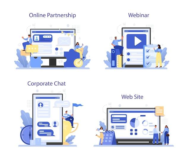 企業文化のオンラインサービスまたはプラットフォームセット