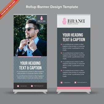 Корпоративный темный и светло-серый баннер rollup banner