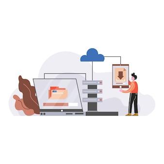 Corporate data management vector illustration