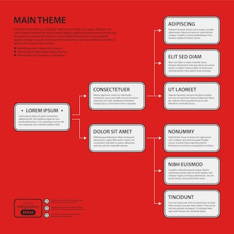 Corporate design template on red background. black and white colors. useful for advertising, presentations and web design.