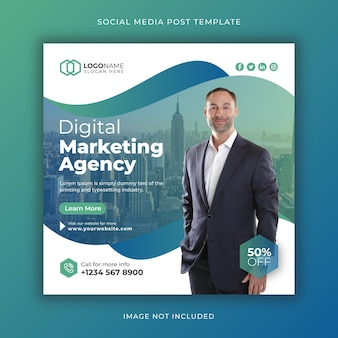 Corporate and digital marketing agency social media post and web banner template