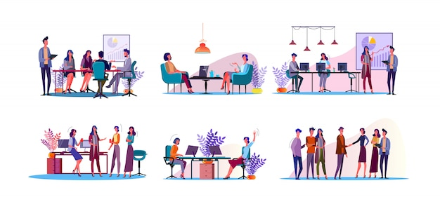 Corporate discussion illustration set