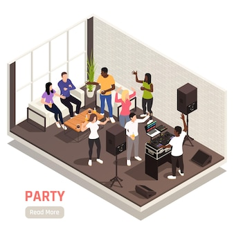 Corporate  dj  entertaining  team  building  party  isometric  interior  composition  with  music  equipment  talking  dancing  people