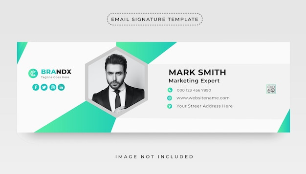Corporate email signature template and personal social media email footer cover design