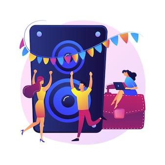 企業イベント。従業員とビジネスパートナーのためのパーティー。踊ったり、飲んだり、楽しんだりする人々。イベント管理、エンターテインメント、お祝い