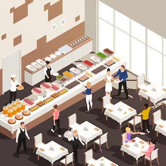Corporate events celebrations catering service hall isometric view with white table linens snacks beverages buffet illustration