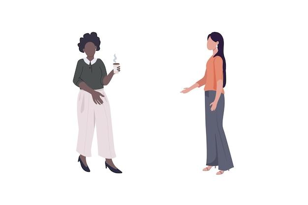 Корпоративные женщины-работницы плоский цветной безликий набор символов