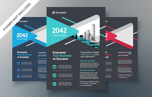 Corporate flyer design template. three color ways included.
