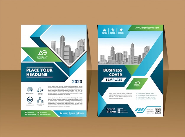 Corporate flyer layout template with elements and placeholder