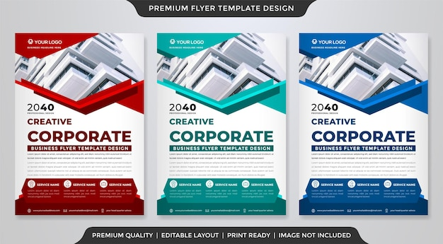 Corporate flyer template design with abstract and modern style