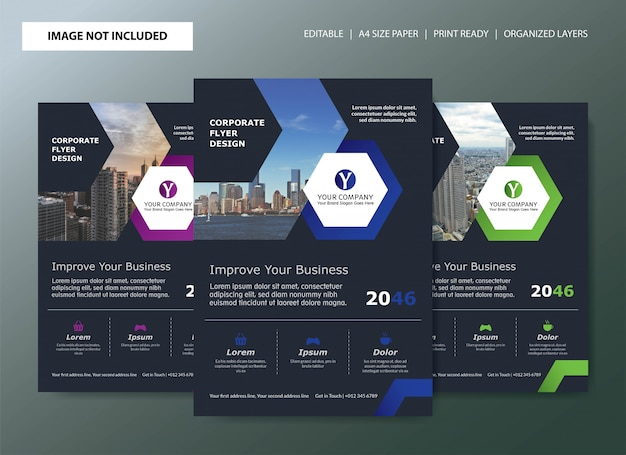 Corporate flyer template design with color choices