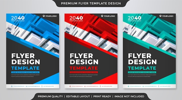 Corporate flyer template design Premium Vector