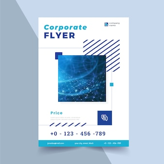 Corporate flyer template with shapes and photo