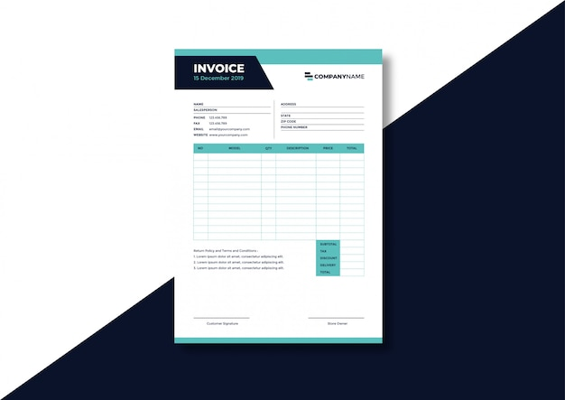 Corporate formal business invoice template