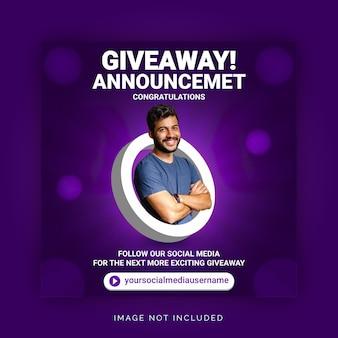 Объявление победителя корпоративной раздачи в социальных сетях шаблон баннера instagram