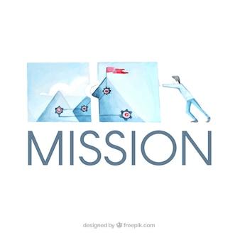 Background aziendale obiettivi con acquerello illustrazione