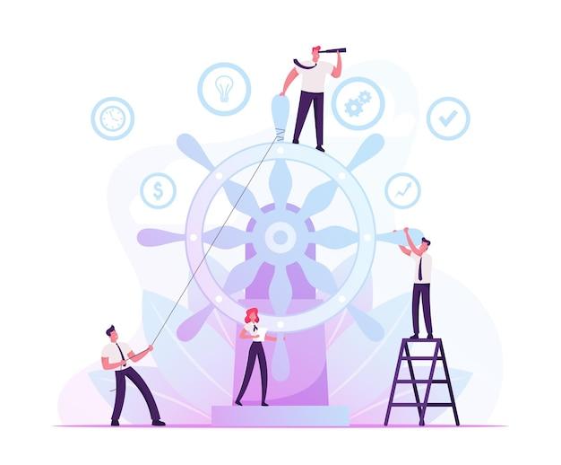 기업 지배 구조 및 팀 작업 개념. 만화 평면 그림
