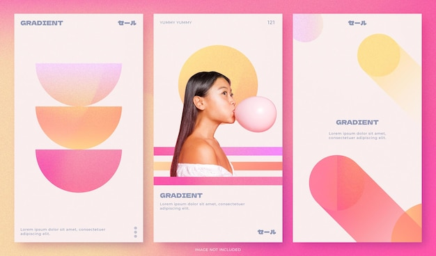Corporate gradient template design set for social media with grainy effect