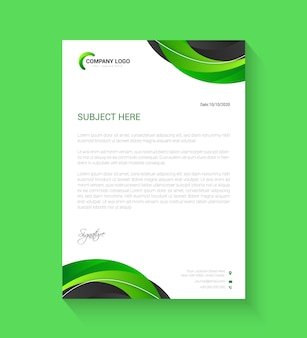 Corporate green and black letterhead template
