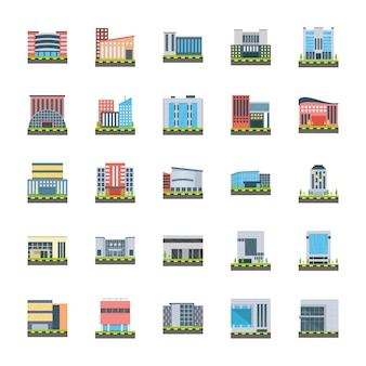 Corporate headquarters flat icons