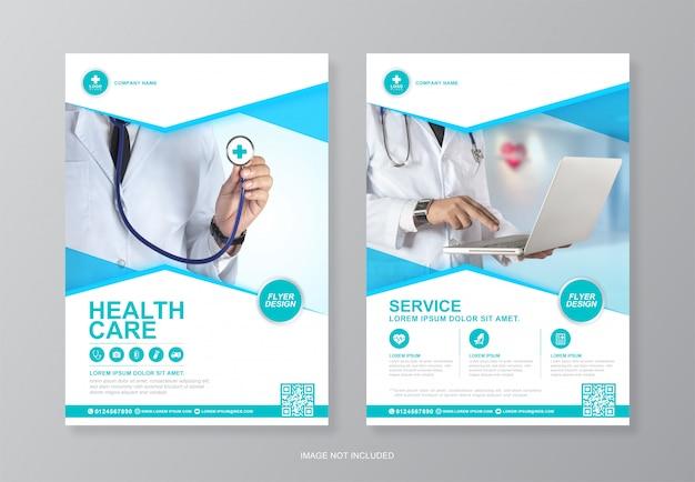 Корпоративное здравоохранение и медицинское покрытие и шаблон дизайна задней части флаера